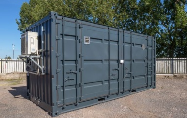 Ion battery storage container with exterior fan