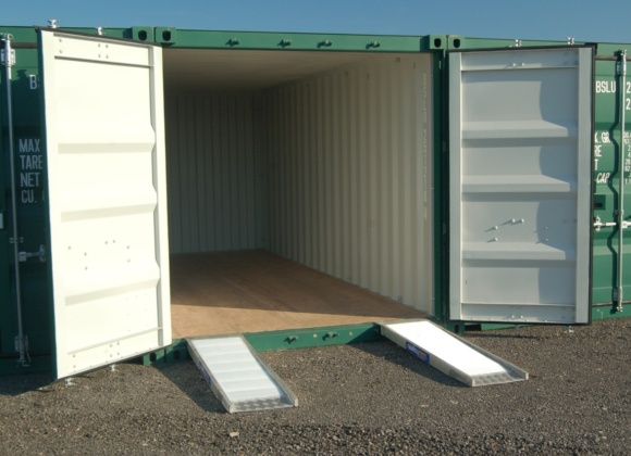 Container with two small ramps