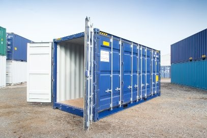 Blue shipping container with doors open