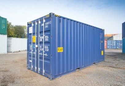 Rear of blue shipping container
