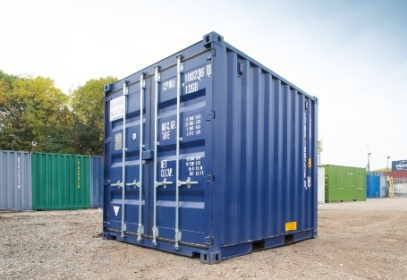 Blue square container from corner