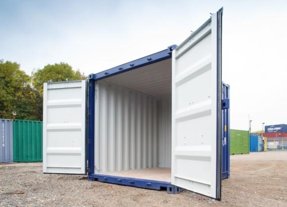 Blue 10ft container doors open