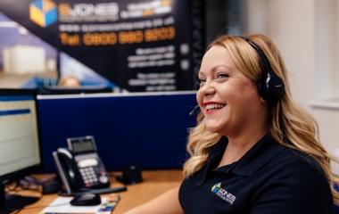 Rachel Haycox Wearing Headset