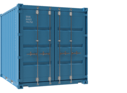 Square blue container bars on doors