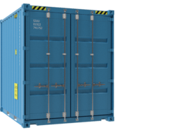 Front view of 10ft HC container with stickers