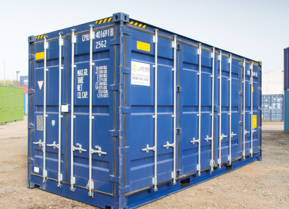 Blue container with vertical bars