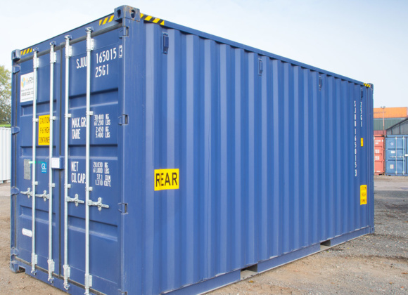 Cobalt blue container side view