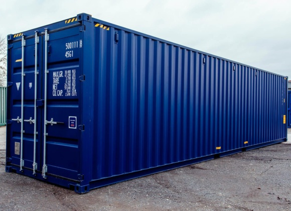 Large dark blue container full view