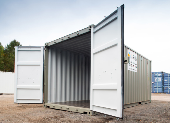 Low view grey shipping container