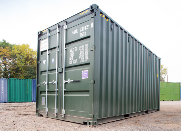 Low view green shipping container