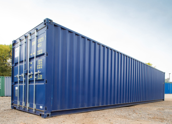 Right hand view of 40ft container in blue