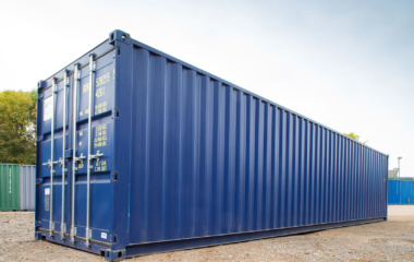 40 foot blue container on gravel