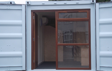Brown windows in white container