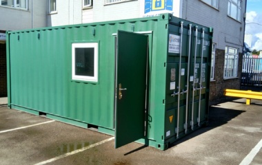 Green office with door open