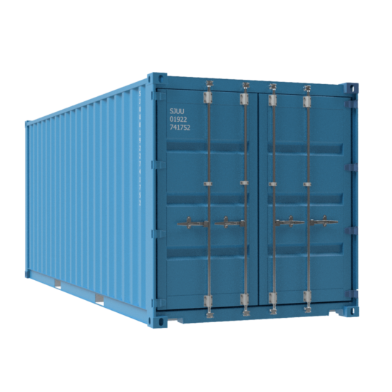 Shipping container in blue with bars