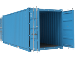 Light blue container no background doors open