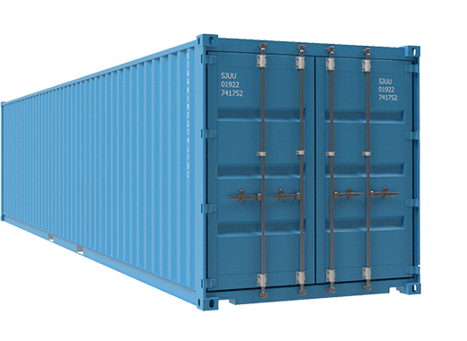 Light blue container diagonal view