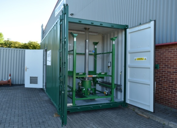 Large image of green container with green pipes