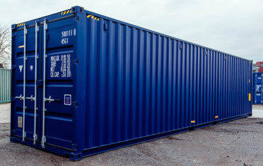 Right side view of blue 40ft container