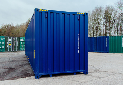 Blue container surrounded by others