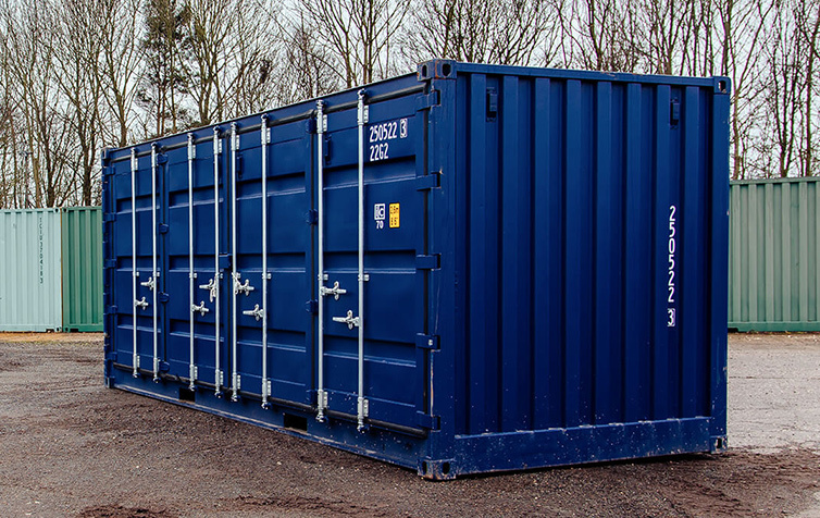 Blue shipping container side view