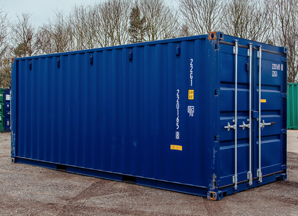 Blue container bars on doors