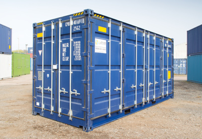 20 ft blue container diagonal view