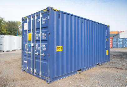 Right side view of bright blue 20ft container