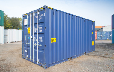 Blue 20ft Shipping Container With Rear Sticker