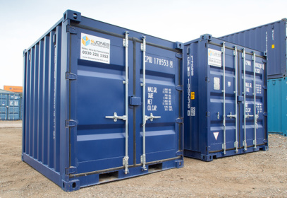 Two 10ft blue containers from the left