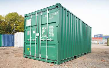Green container right hand side view