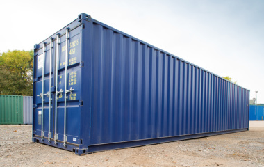 Low angle view of blue 40ft container