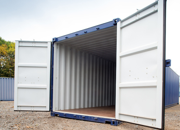 40ft blue container with doors open
