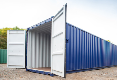 Container with doors open from the side