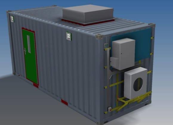 CGI grey container with green door
