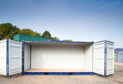 Dark blue 40ft container both doors open