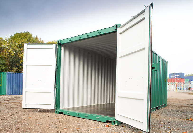 Small green container doors open
