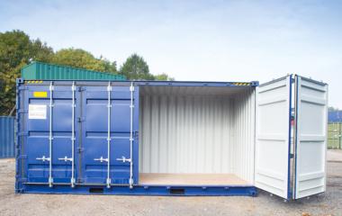 Side door of blue 40 foot container open