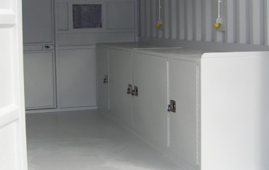 Cupboards Painted White Inside Container