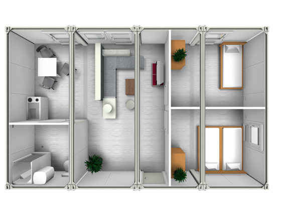 Aerial CGI view of container interior