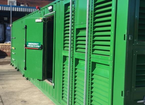 Emergency door open on green container