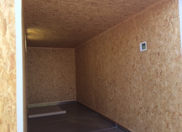 Wooden walls inside container