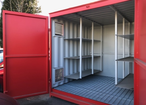 Red Container with Silver Interior & Racking