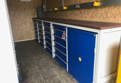 Blue cabinets inside container