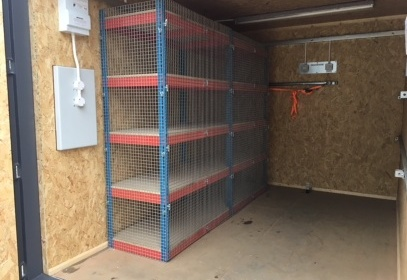 Netted shelving inside container