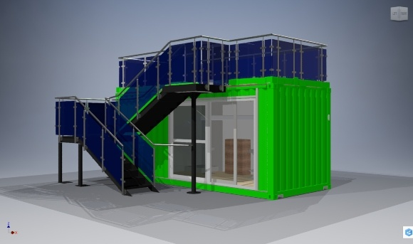 CAD Of A Container Home With Stairs