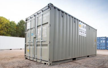 Grey shipping container side view