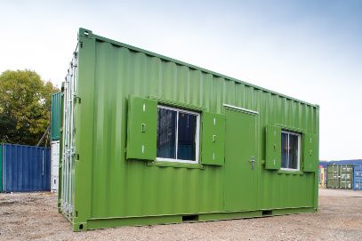 Green containers with 2 small windows
