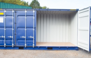 One side door open on blue container