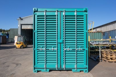 Blue container large air vents front view